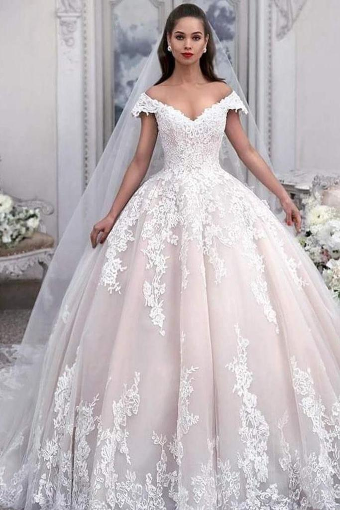 Buy Off The Shoulder Ball Gown Tulle Wedding Dress With Appliques ...