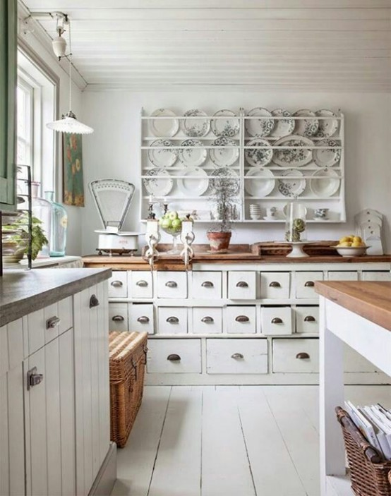 charming shabby chic kitchen with lots of details